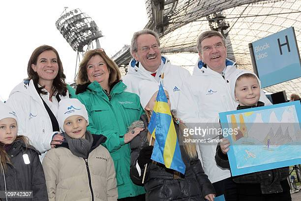 Katarina Witt Gunilla Lindberg head of IOC Evaluation Commission Munich's lord mayor Christiane Ude and Thomas Bach head of German NOC pose with...