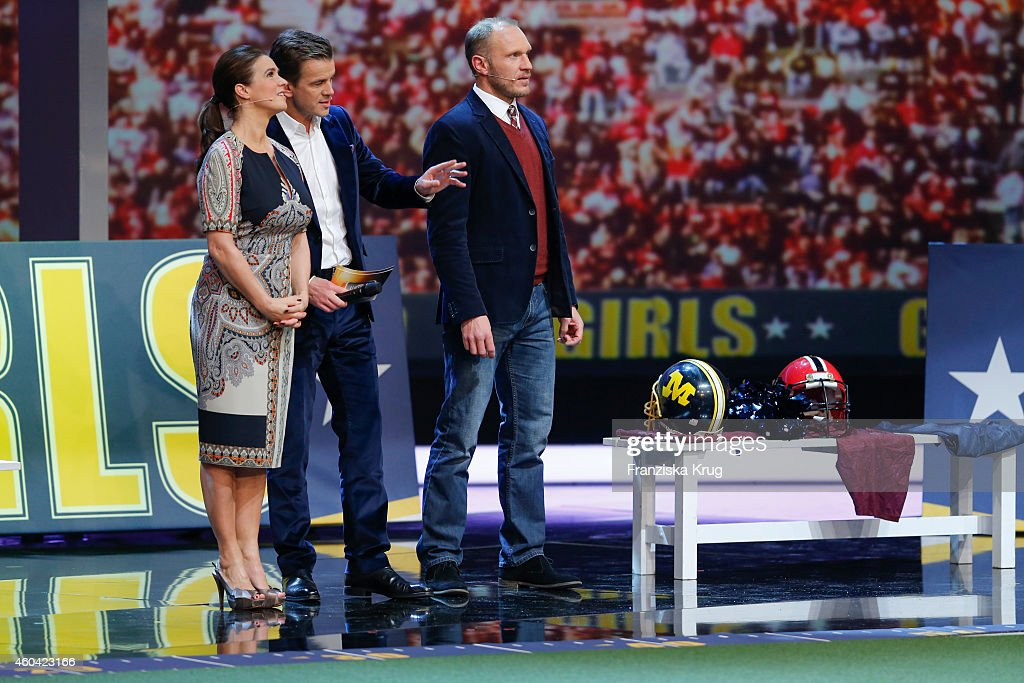 Katarina Witt Markus Lanz and Hermann Maier attend the last broadcast of the 'Wetten dass TV show' on December 13 2014 in Nuremberg Germany