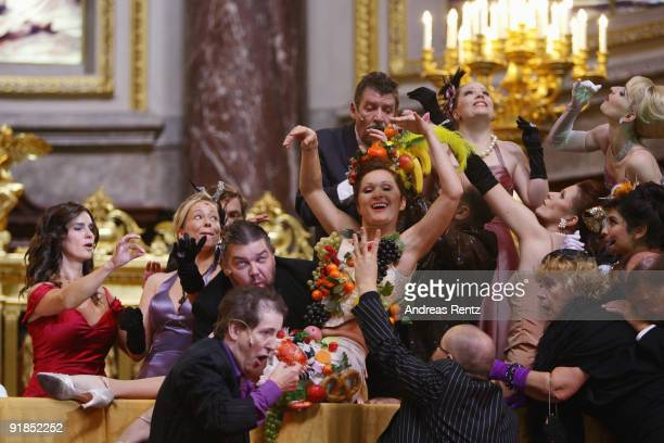 Katarina Witt performs on stage during the 'Jedermann' dress rehearsal at the Berlin Cathedral Church on October 13 2009 in Berlin Germany