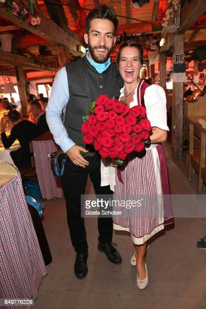 Katarina Witt wearing a dirndl by Angermaier Trachten during the 'BMW Wies'n SportStammtisch' as part of the Oktoberfest at Theresienwiese on...