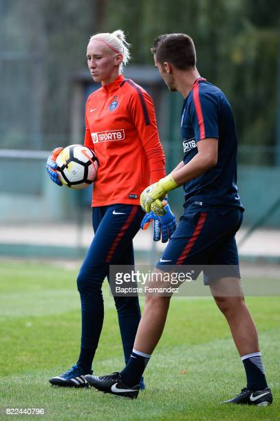 Katarzyna Kiedrzynek and Christophe Ott of Paris Saint Germain during a training session of Paris Saint Germain at Bougival on July 25 2017 in Paris...