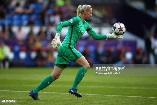 Katarzyna Kiedrzynek of PSG during the UEFA Women's Champions League Final match between Lyon and Paris Saint Germain at Cardiff City Stadium on June...