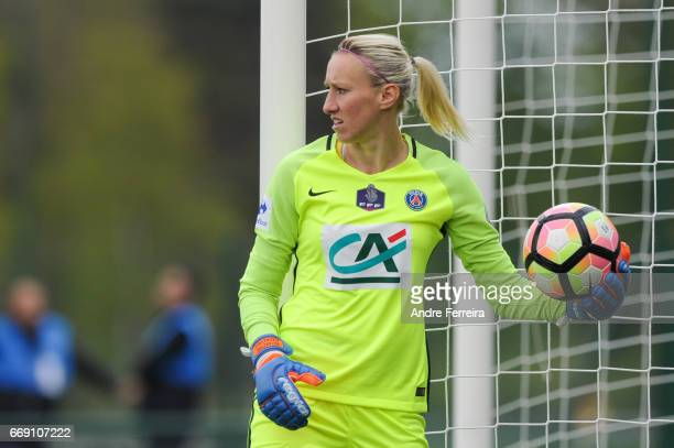 Katarzyna Kiedrzynek of PSG during the women's National Cup match between Paris Saint Germain PSG and AS Saint Etienne at Camp des Loges on April 16...