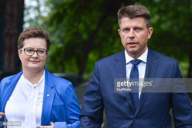 Katarzyna Lubnauer the Chairman of the Parliamentary Club of 'Nowoczesna' Political Pary and Ryszard Petru the Leader of 'Nowoczesna' arrive for the...