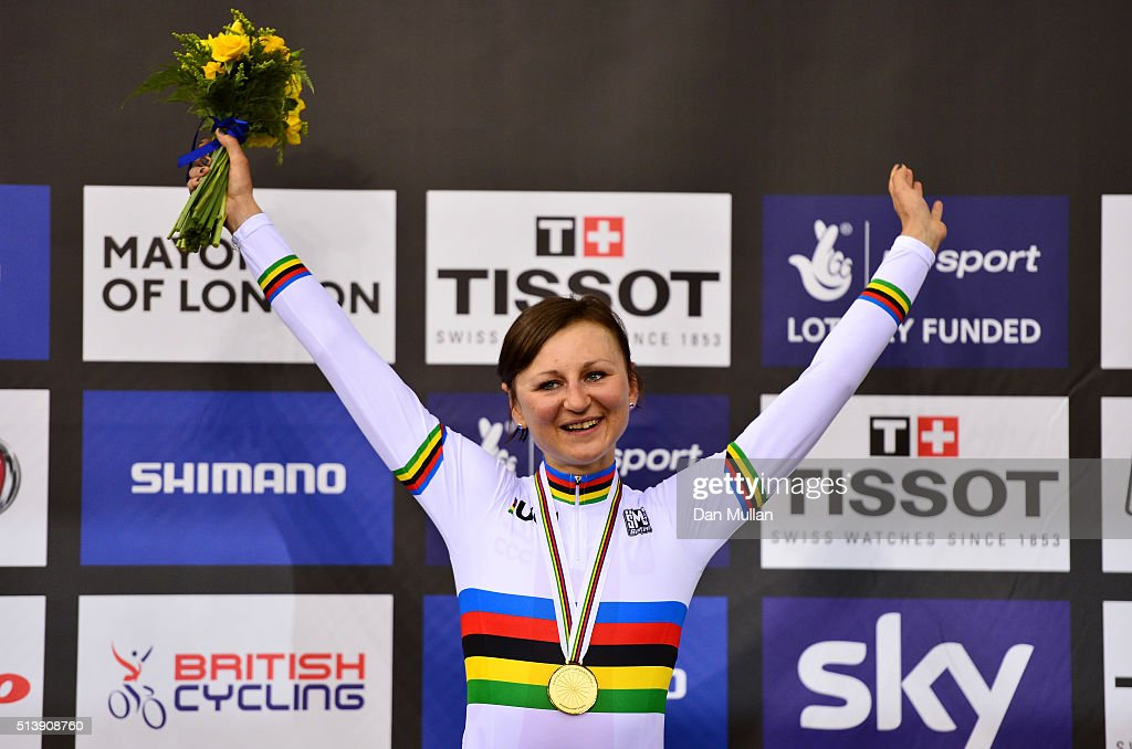 Katarzyna Pawlowska of Poland celebrates on the podium after winning the gold medal in the Women's Points Race during Day Four of the UCI Track...