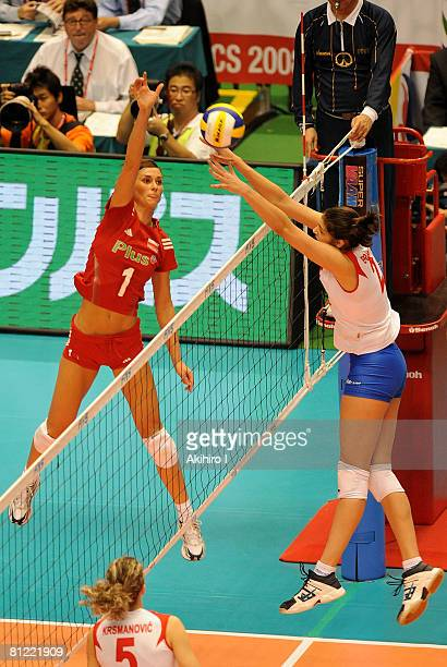 Katarzyna SkowronskaDolata of Poland in action during FIVB Women's World Olympic Qualification Tournament match between Serbia and Poland at Tokyo...