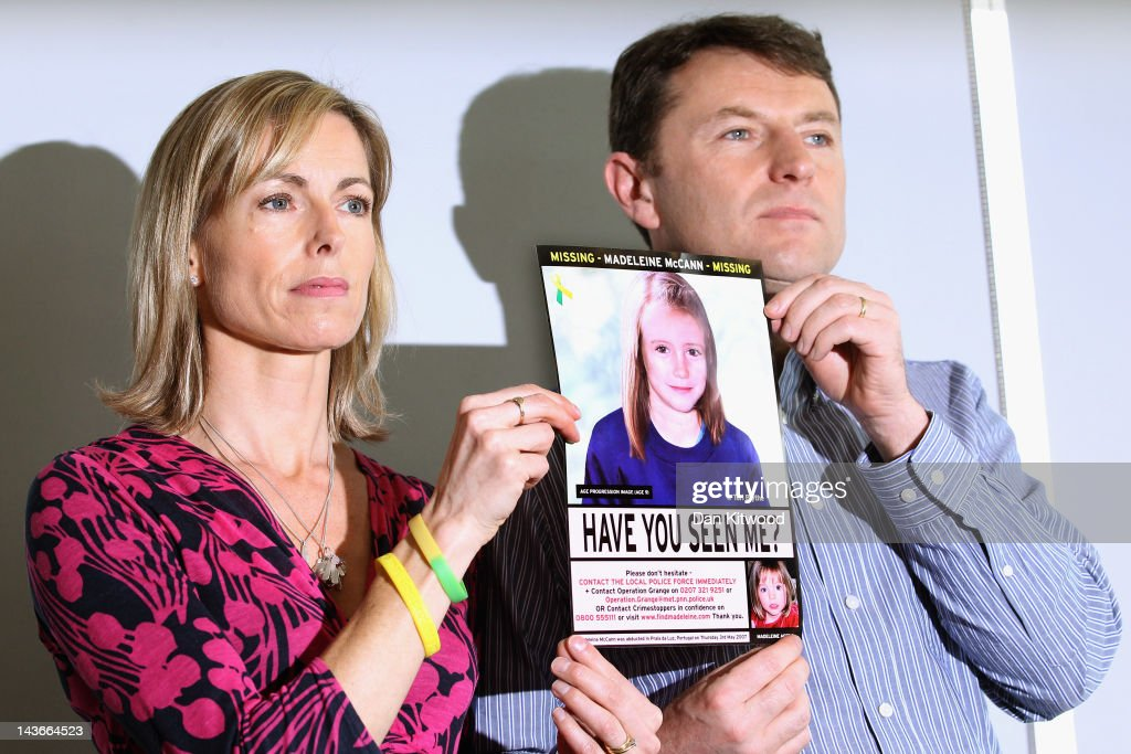 Kate and <a gi-track='captionPersonalityLinkClicked' href=/galleries/search?phrase=Gerry+McCann&family=editorial&specificpeople=4278561 ng-click='$event.stopPropagation()'>Gerry McCann</a> hold an age-progressed police image of their daughter during a news conference to mark the 5th anniversary of the disappearance of Madeleine McCann, on May 2, 2012 in London, England. The McCann's today stated that there is 'no doubt' that authorities will re-open the investigation into their daughter's disappearance. Three-year-old Madeleine went missing while on holiday with her parents in the Algarve region of Portugal in May 2007.