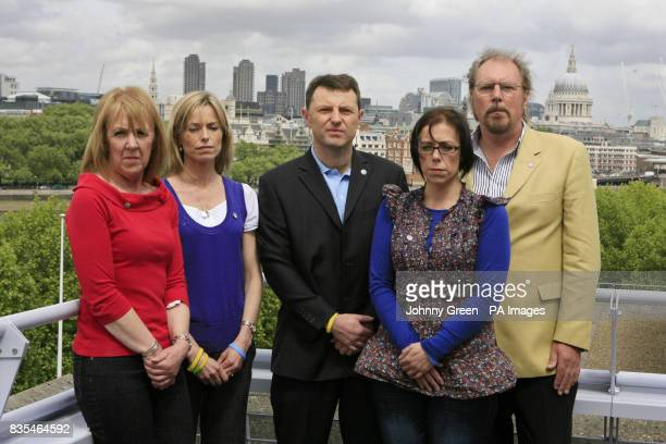 Kate and Gerry McCann the parents of missing Madeleine McCann join families of other missing children including Sharon Lee left Natasha Lee 2nd Right...