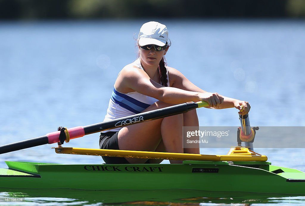 Kate Andrew of Trident High races in the Girls U18 single sculls during the New Zealand Junior Rowing Regatta on February 23, 2013 in Auckland, New Zealand.