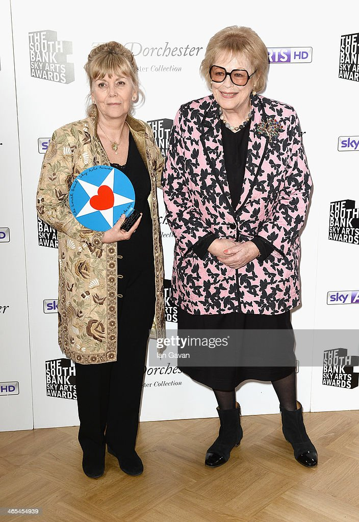 Kate Atkinson with her Best Literature award with presenter Dame <a gi-track='captionPersonalityLinkClicked' href=/galleries/search?phrase=Antonia+Fraser&family=editorial&specificpeople=931063 ng-click='$event.stopPropagation()'>Antonia Fraser</a> during the South Bank Sky Arts awards at the Dorchester Hotel on January 27, 2014 in London, England.