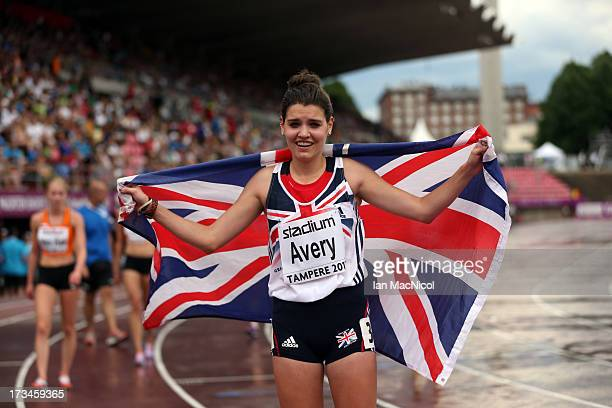 Kate Avery of Great Britain celebrates winning silver in the 5000m during day four of The European Athletics U23 Championships 2013 on July 14 2013...