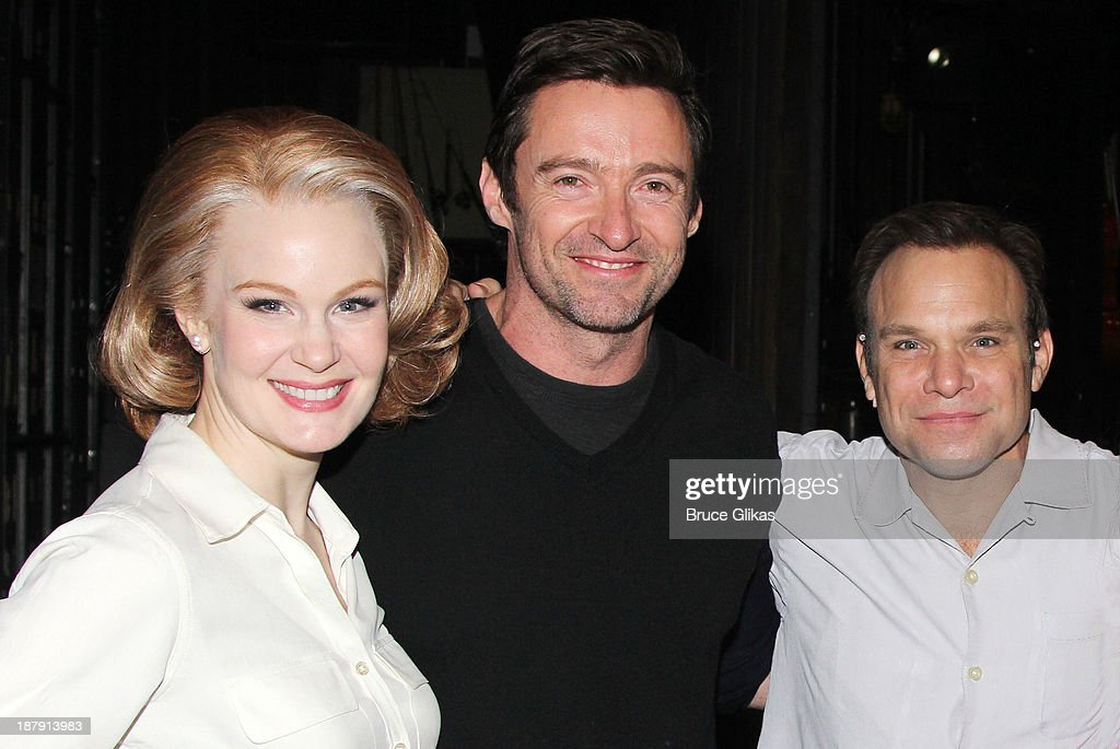 Kate Baldwin, Hugh Jackman, and Norbert Leo Butz pose backstage at 'Big Fish' on Broadway at The Neil Simon Theater on November 13, 2013 in New York City.