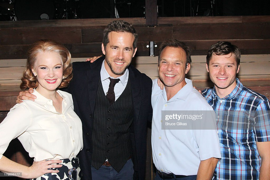 Kate Baldwin, Ryan Reynolds, Norbert Leo Butz and Bobby Steggert pose backstage (as Ryan Reynolds and wife Blake Lively celebrate their 1st wedding anniversary) at the musical 'Big Fish' on Broadway at The Neil Simon Theater on September 6, 2013 in New York City.