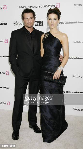 Kate Beckinsale and her husband Len Wiseman arriving for the 17th annual Sir Elton John AIDS Foundation Oscar Party held at the Pacific Design Center...
