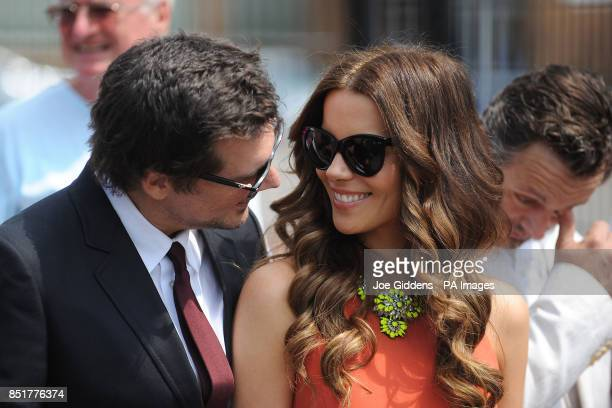 Kate Beckinsale and husband Len Wiseman during a visit to College House Junior School to unveil a plaque in memory of her late father Richard...
