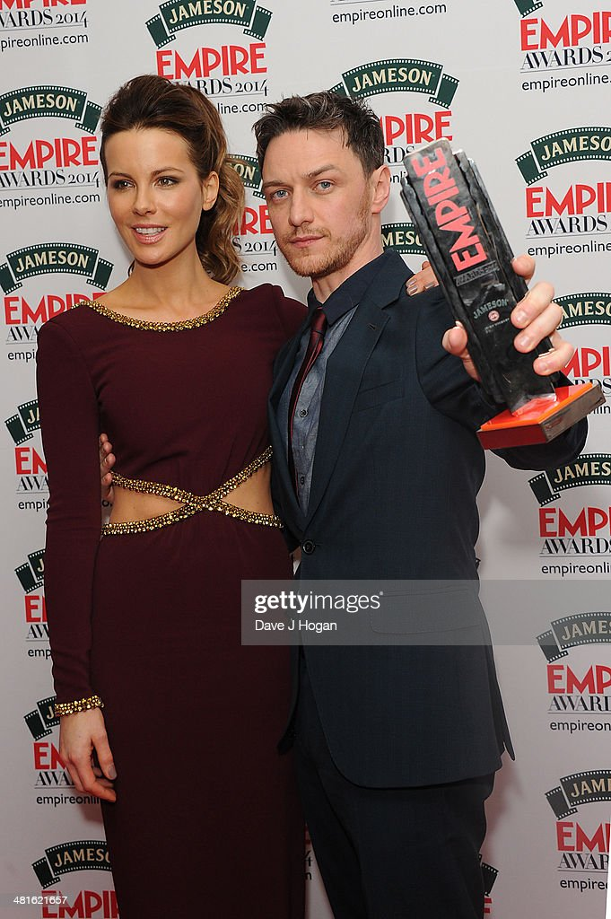 <a gi-track='captionPersonalityLinkClicked' href=/galleries/search?phrase=Kate+Beckinsale&family=editorial&specificpeople=202911 ng-click='$event.stopPropagation()'>Kate Beckinsale</a> and James Mcavoy poses in the press room at the Jameson Empire Film Awards 2014 at The Grosvenor House Hotel on March 30, 2014 in London, England.
