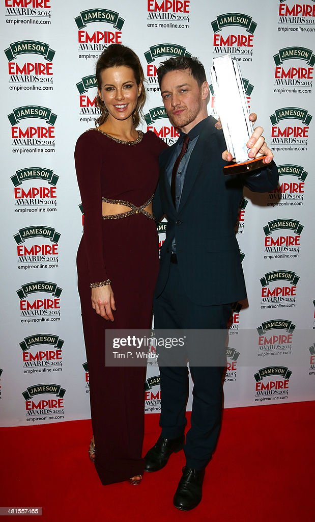 Kate Beckinsale and James McAvoy, winner of the Jameson Best Actor award during the Jameson Empire Awards 2014 at the Grosvenor House Hotel on March 30, 2014 in London, England. Regarded as a relaxed end to the awards show season, the Jameson Empire Awards celebrate the film industry's success stories of the year with winners being voted for entirely by members of the public. Visit empireonline.com/awards2014 for more information.