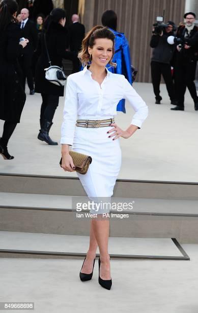 Kate Beckinsale arriving for the Burberry Prorsum Autumn/Winter 2013 Womenswear show at Kensington Gardens Kensington Gore London