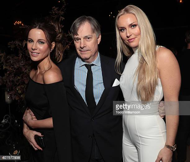 Kate Beckinsale Director Whit Stillman and Lindsey Vonn attend Jeff Bezos and Matt Damon's 'Manchester By The Sea' Holiday Party on December 3 2016...
