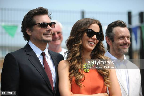 Kate Beckinsale husband Len Wiseman and former husband Michael Sheen during a visit to College House Junior School to unveil a plaque in memory of...