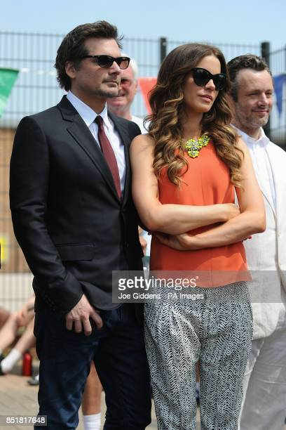 Kate Beckinsale husband Len Wiseman and Michael Sheen during a visit to College House Junior School to unveil a plaque in memory of her late father...