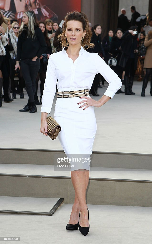 Kate Beckinsale is pictured arriving at the Burberry Prorsum during London Fashion Week on February 18, 2013 in London, England.