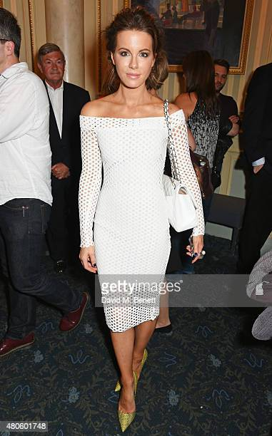 Kate Beckinsale poses in the foyer following the press night performance of 'The Mentalists' at Wyndhams Theatre on July 13 2015 in London England