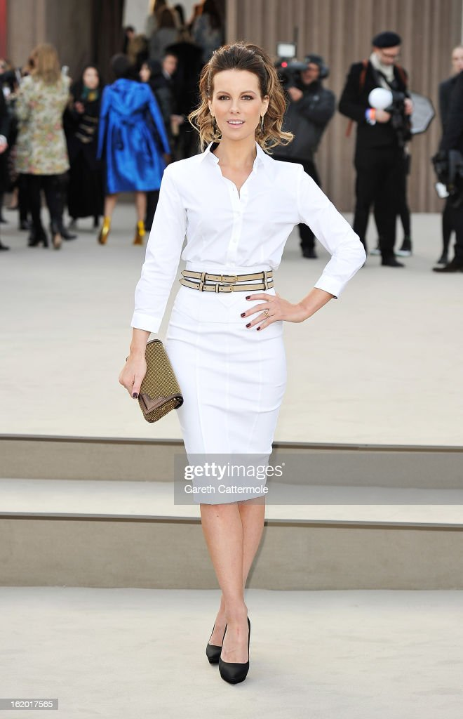 Kate Beckinsale wearing Burberry, arrives at the Burberry Prorsum Autumn Winter 2013 Womenswear Show on February 18, 2013 in London, England.