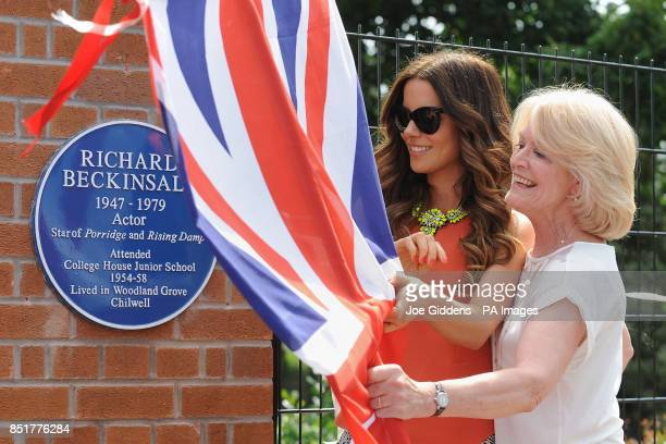 Kate Beckinsale with her mother Judy Lo during a visit to College House Junior School to unveil a plaque in memory of her late father Richard...