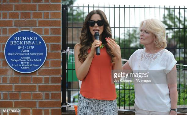 Kate Beckinsale with her mother Judy Loe during a visit to College House Junior School to unveil a plaque in memory of her late father Richard...