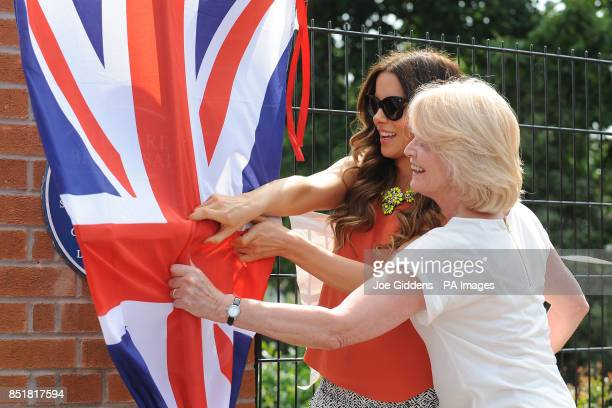 Kate Beckinsale with her mother Judy Loe during a visit to College House Junior School where she unveiled a plaque in memory of her late father...