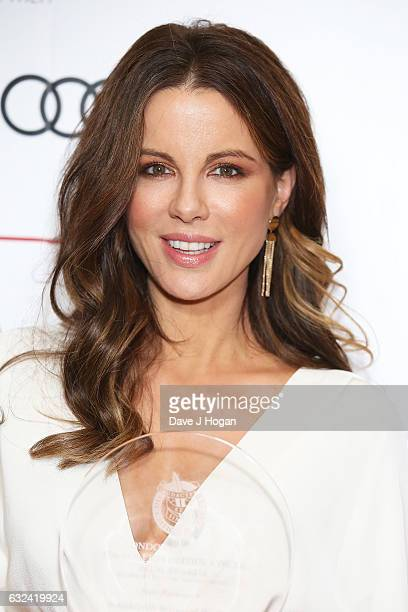 Kate Beckinsale with the award for British/Irish Actress of the Year at the Critics' Circle Film Awards at The Mayfair Hotel on January 22 2017 in...