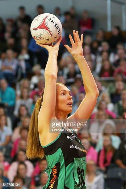 Kate Beveridge of the Fever shoots during the round one Super Netball match between the Thunderbirds and Fever on February 19 2017 in Adelaide...
