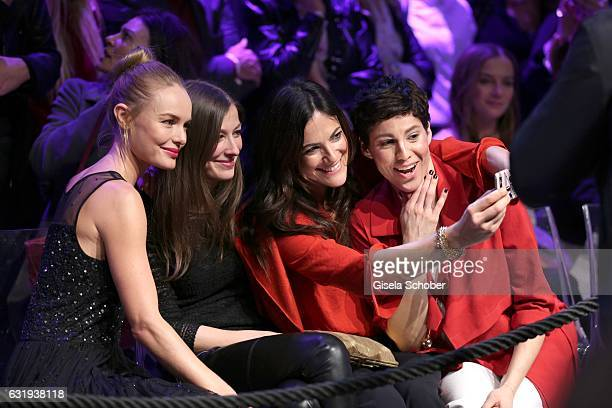 Kate Bosworth Alexandra Maria Lara Bettina Zimmermann and Jasmin Gerat take a selfie during the Marc Cain fashion show fall/winter 2017 'Ballet...