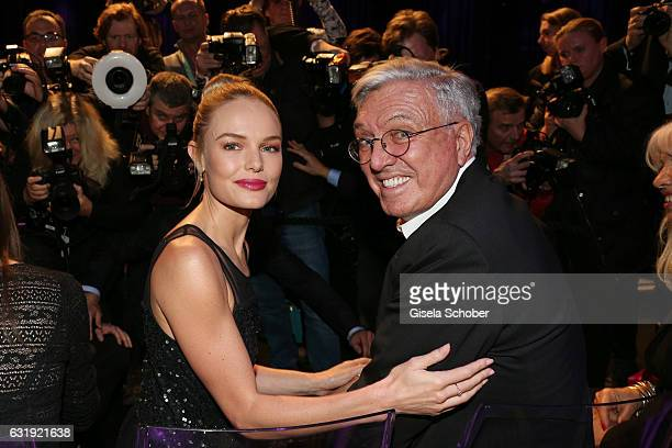 Kate Bosworth and Helmut Schlotterer Marc Cain ceo attends the Marc Cain fashion show A/W 2017 at Deutsche Telekom representation on January 17 2017...