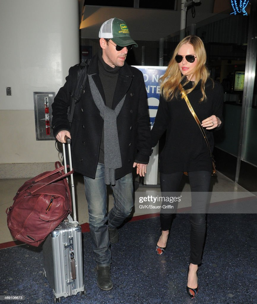 Kate Bosworth and Michael Polish seen at LAX airport on February 12, 2014 in Los Angeles, California.
