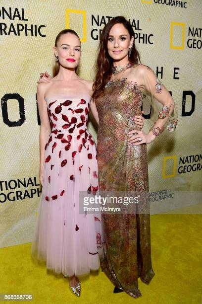 Kate Bosworth and Sarah Wayne Callies attend the premiere of National Geographic's 'The Long Road Home' at Royce Hall on October 30 2017 in Los...
