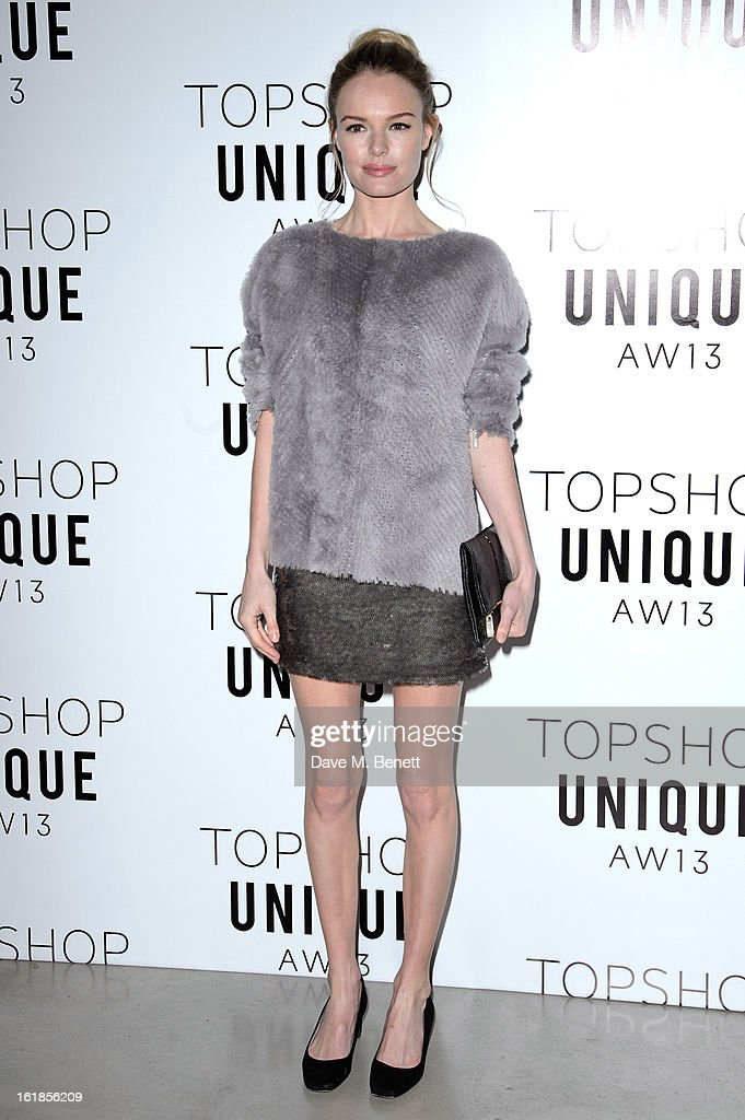 Kate Bosworth attends the Topshop Unique Autumn/ Winter 2013 catwalk show at the Topshop Show Space on February 17, 2013 in London, England.