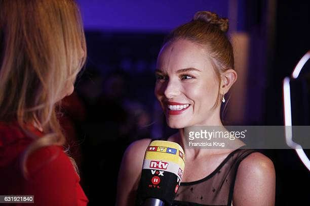 Kate Bosworth gives an interview ahead of the VIP cocktail reception after the Marc Cain fashion show A/W 2017 at Deutsche Telekom representation on...