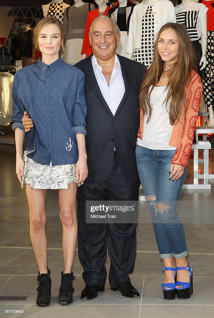 Kate Bosworth, Sir Philip Green and Chloe Green attend Topshop Topman LA Grand Opening at The Grove on February 14, 2013 in Los Angeles, California.