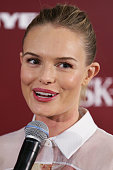 Kate Bosworth speaks during an SKII promotional event at Myer Sydney City on October 12 2012 in Sydney Australia
