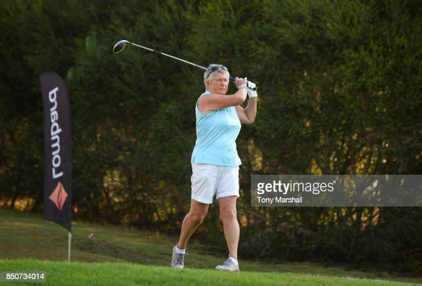 Kate Brown of Dinsdale Spa Golf Club plays her first shot on the 1st tee during The Lombard Trophy Final Day One on September 21 2017 in Albufeira...