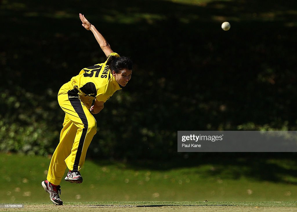 Kate Burns of the Fury bowls during the WNCL match between the Western Australia Fury and the South Australia Scorpions at Christ Church Grammar Playing Fields on December 8, 2012 in Perth, Australia.