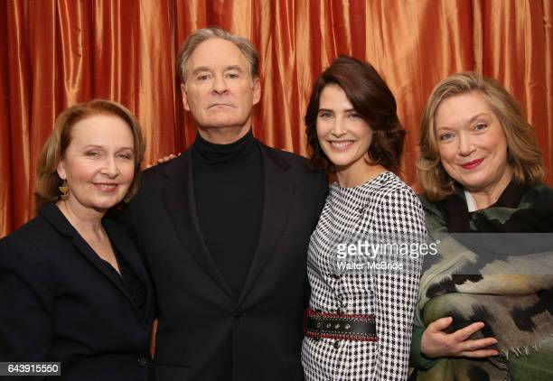 Kate Burton Kevin Kline Cobie Snulders and Kristine Nielsen attend the Broadway cast photo call for 'Present Laughter' at The Royal Suite at the...