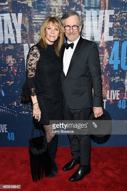 Kate Capshaw and Steven Spielberg attend SNL 40th Anniversary Celebration at Rockefeller Plaza on February 15 2015 in New York City