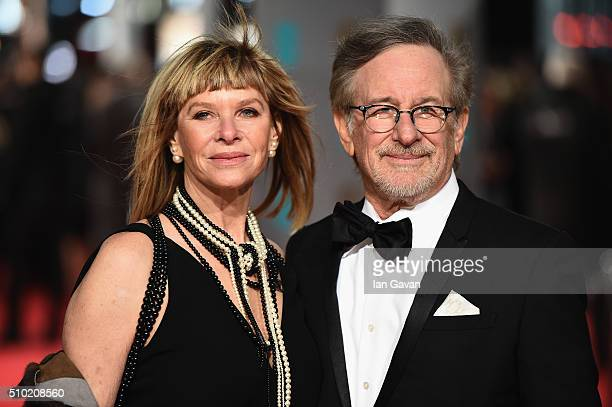 Kate Capshaw and Steven Spielberg attend the EE British Academy Film Awards at the Royal Opera House on February 14 2016 in London England