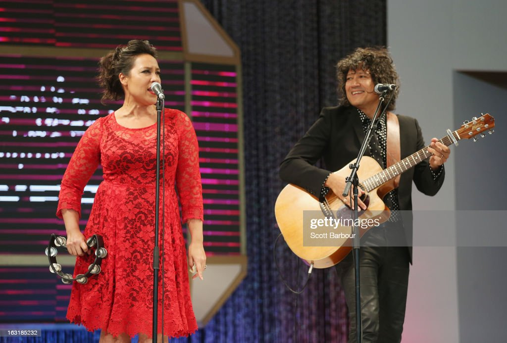 Kate Ceberano and her brother Phil Ceberano perform during Flemington's Beautiful Girls Fashion Lunch on March 6, 2013 in Melbourne, Australia.