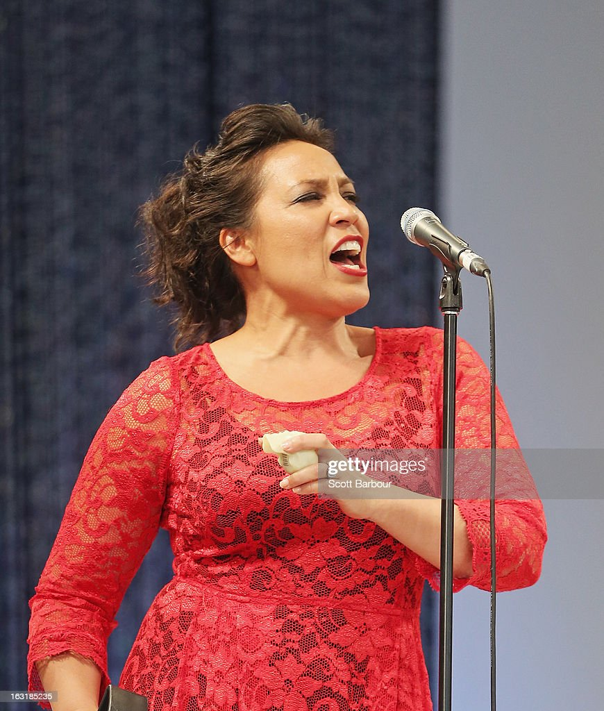 Kate Ceberano performs during Flemington's Beautiful Girls Fashion Lunch on March 6, 2013 in Melbourne, Australia.