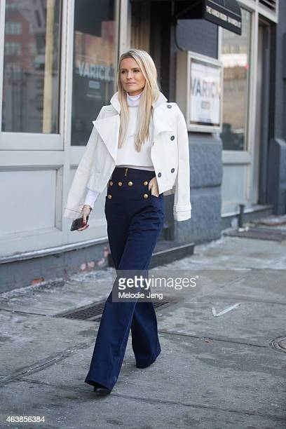 Kate Davidson Hudson of Editorialist Magazine exits the Michael Kors show on the streets of Manhattan on February 18 2015 in New York City