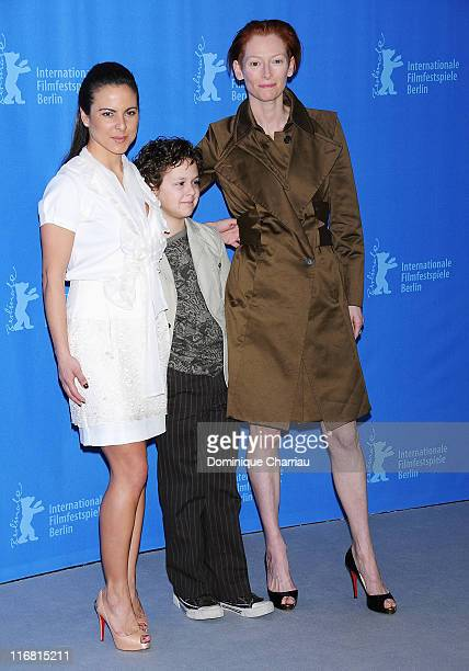 Kate del Castillo Aidan Gould and Tilda Swinton attend the 'Julia' photocall during day three of the 58th Berlinale International Film Festival held...